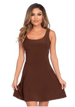 Vestido skater marrón básico de mujer