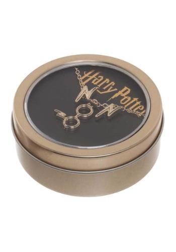 Juego de collar y aretes de Harry Potter en caja de estaño