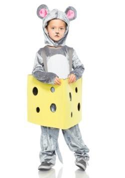 Ratón niño en traje de queso
