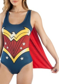 Disfraz de leotardo con capa de Mujer Maravilla de DC Comics