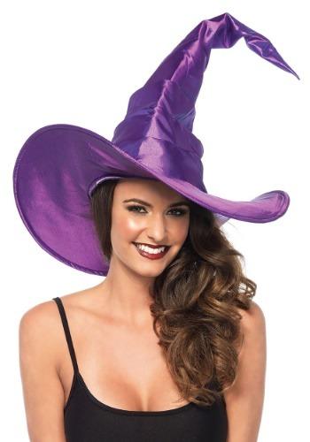 Gran sombrero de bruja acanalada púrpura