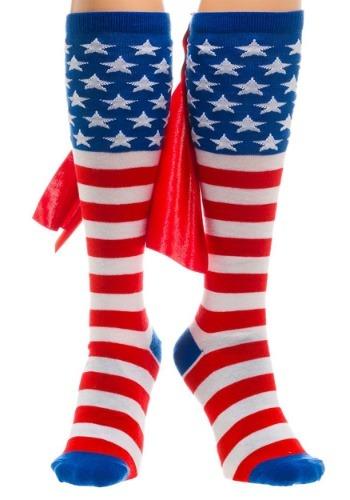 Calcetines altos de la bandera americana de la rodilla