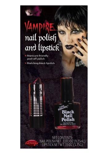 Esmalte de uñas y lápiz labial negro