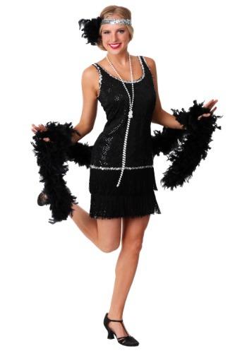 Vestido con lentejuelas y flecos negro