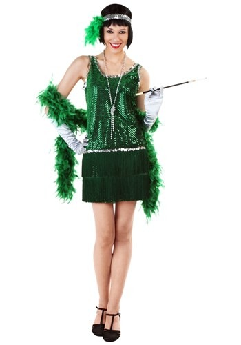 Disfraz estilo flapper con lentejuelas y flecos verde