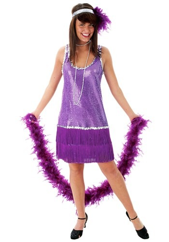 Vestido morado estilo flapper