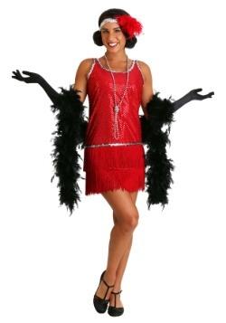 Disfraz estilo flapper con lentejuelas y flecos rojo