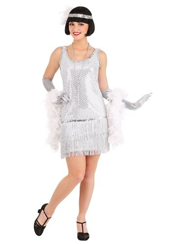 Vestido plata estilo flapper
