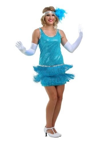 Vestido turquesa flapper de lentejuelas y fleo