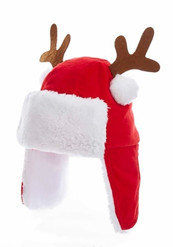 "7 ""Plush Red Kids Christmas Hat w / Antlers"
