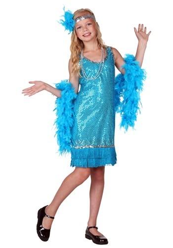 Disfraz niña estilo flapper de lentejuelas turquesa y flecos