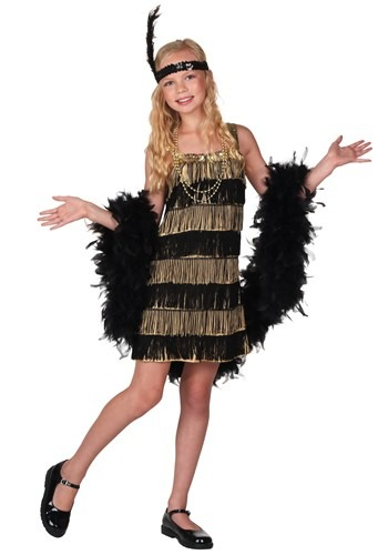 Disfraz infantil estilo flapper con fleco dorado y negro