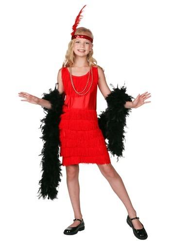 Disfraz infantil rojo con flecos