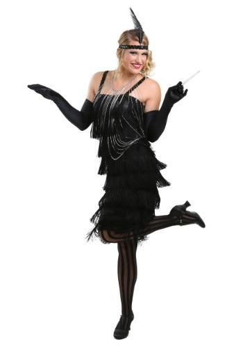 Vestido negro con solapa estilo Charleston