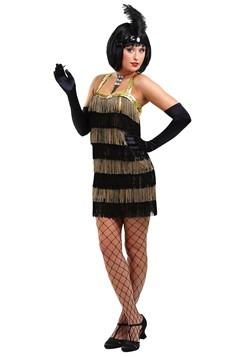 Disfraz estilo flapper con flecos dorados