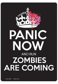 Letrero de llegada de zombis
