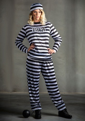 Striped Prisoner Costume para mujer