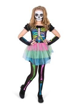 Disfraz de chica esqueleto arcoíris