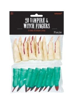 Dedos de bruja y vampiro (paquete de 20 dedos)