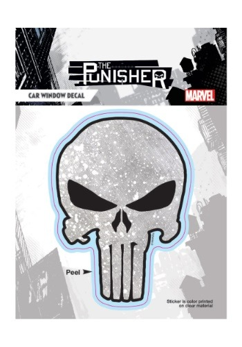 Punisher Weathered Dotted Gray Skull Car Window Decal