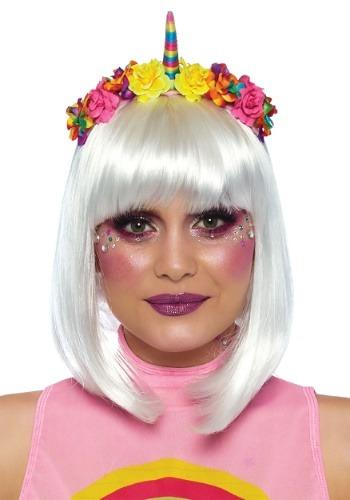 Diadema de flores de unicornio arco iris