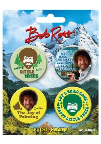 Juego de 4 botones Bob Ross