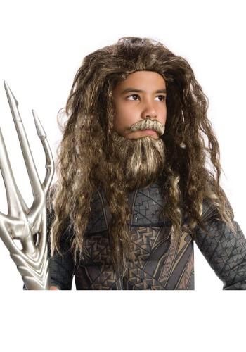 Conjunto infantil de barba y peluca Aquaman