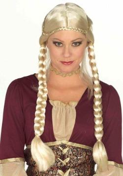Peluca trenzada rubia del Renacimiento para mujer
