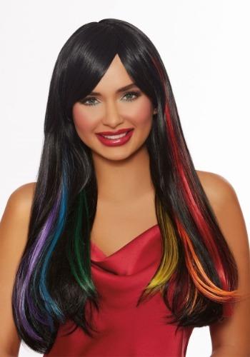 Peluca de arco iris oculta para adultos