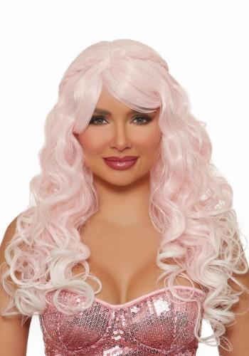 Peluca rosa clara ondulada larga