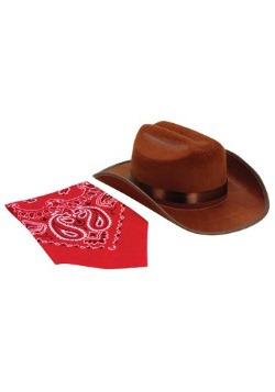 Sombrero de vaquero marrón y conjunto de bandana
