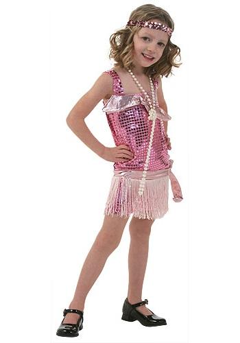 Disfraz estilo Flapper rosa para niños pequeños