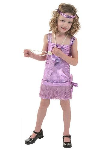 Disfraz flapper morado para niños pequeños