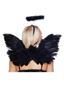 Juego de alas y halo de ángel negro