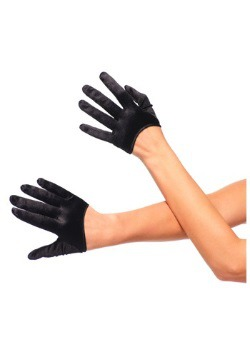 Guantes de satén cortos negros