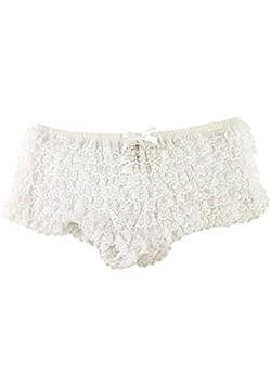 Panties de tanga con volante blanco sexy