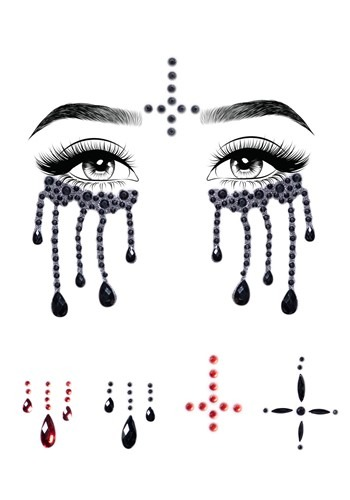 Possessed Nun Adhesive Face Jewel Kit
