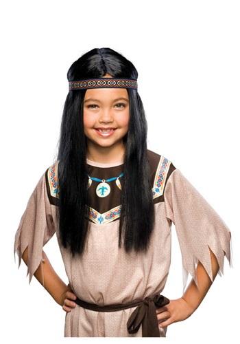 Peluca infantil negra de Pocahontas