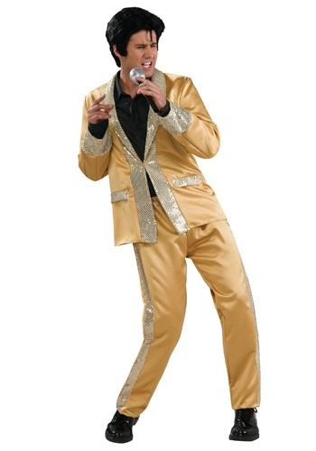 Disfraz de lujo de Elvis con traje de satin dorado